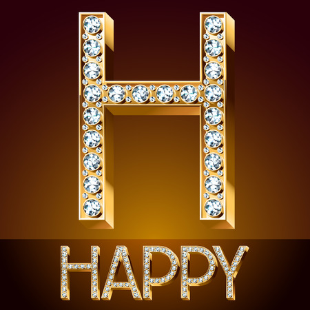 A Vector chic font luxury brilliant. Gold letter H.