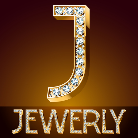 A Vector chic font luxury brilliant. Gold letter J.