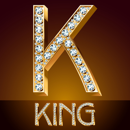 A Vector chic font luxury brilliant. Gold letter K.