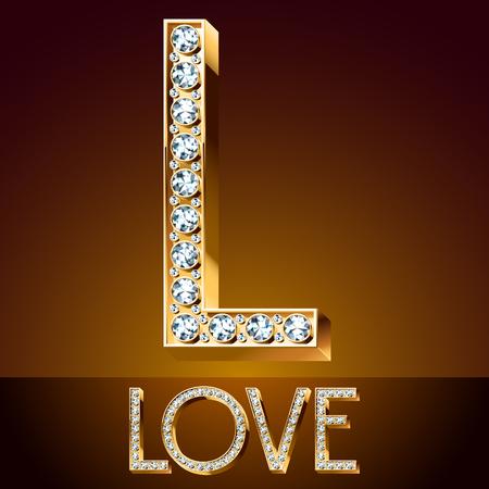 typeface: A Vector chic font luxury brilliant. Gold letter L.