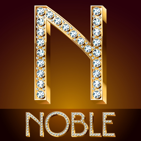 elite: A Vector chic font luxury brilliant. Gold letter N. Illustration