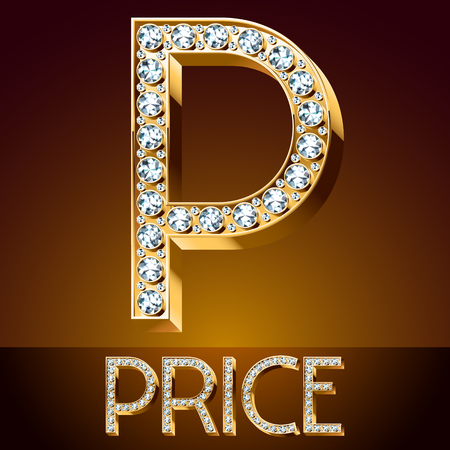 A Vector chic font luxury brilliant. Gold letter P.