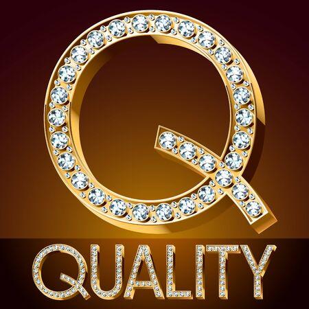 A Vector chic font luxury brilliant. Gold letter Q.