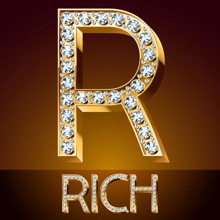 A Vector chic font luxury brilliant. Gold letter R. Çizim