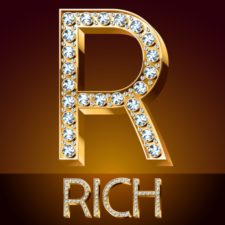 A Vector chic font luxury brilliant. Gold letter R. Illustration
