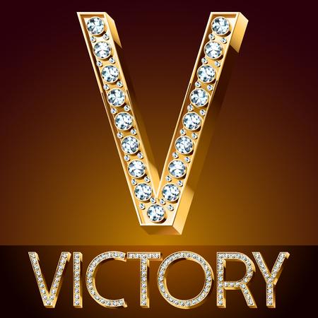 A Vector chic font luxury brilliant. Gold letter V.
