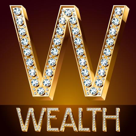 A Vector chic font luxury brilliant. Gold letter W. Çizim