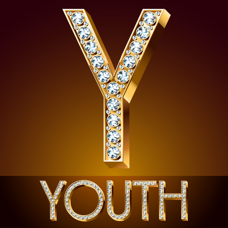 A Vector chic font luxury brilliant. Gold letter Y.