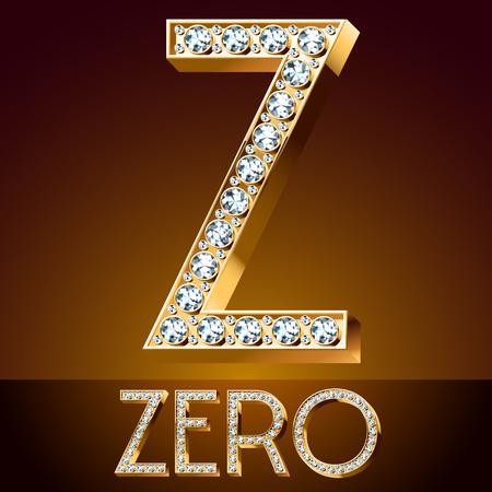 A Vector chic font luxury brilliant. Gold letter Z. Çizim