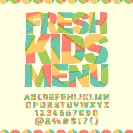 Bright template with text Fresh kids menu. Vector set of colorful letters, numbers and symbols