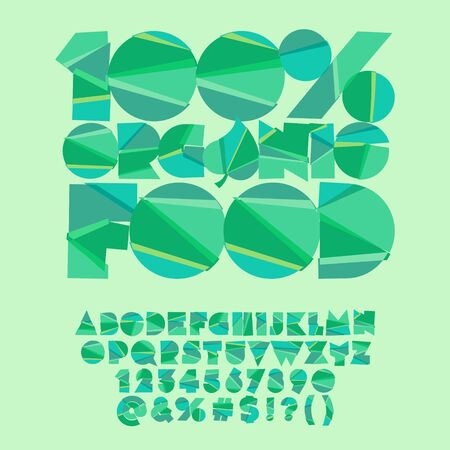 Vector green poster 100% organic food. Vector set of colorful letters, numbers and symbols