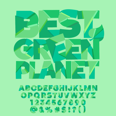 Vector eco banner Best green planet. Vector set of colorful letters, numbers and symbols