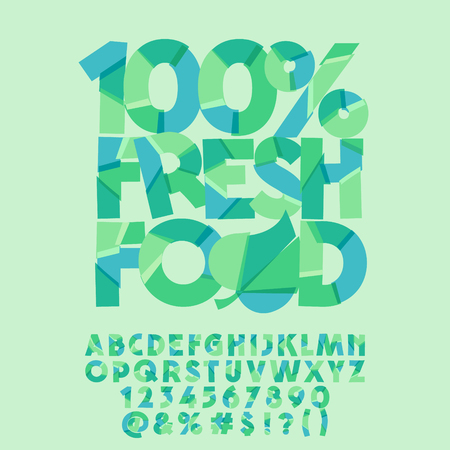 Vector green logo 100% fresh food. Vector set of colorful letters, numbers and symbols Illustration