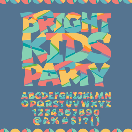 Cool card with text Bright kids party. Vector set of colorful letters, numbers and symbols