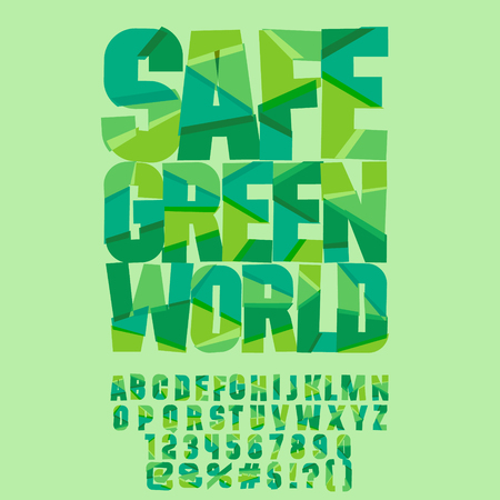 Vector eco logo Safe green world. Vector set of colorful letters, numbers and symbols