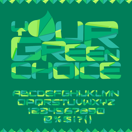 Vector eco poster Your green choice. Vector set of colorful letters, numbers and symbols