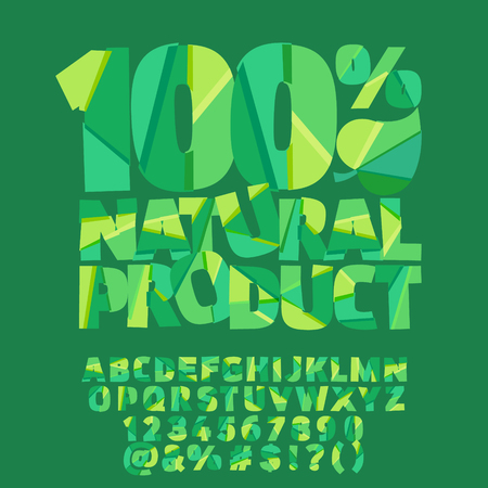 Vector green banner 100% natural product. Vector set of colorful letters, numbers and symbols Illustration