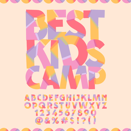 Bright banner with text Best kids camp. Vector set of colorful letters, numbers and symbols
