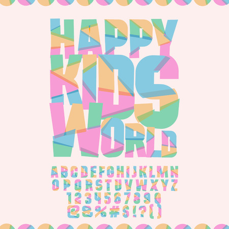 Bright logo with text Happy kids world. Vector set of colorful letters, numbers and symbols