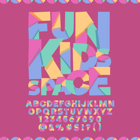 Cool banner with text Fun kids space. Vector set of colorful letters, numbers and symbols Çizim
