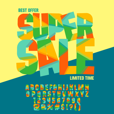 Bright icon with text Super sale. Vector set of colorful letters, numbers and symbols