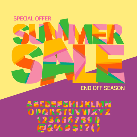 Bright logotype with text Summer sale. Vector set of colorful letters, numbers and symbols
