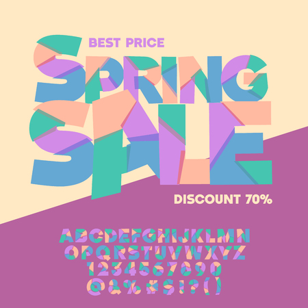 Bright logo with text Spring sale. Vector set of colorful letters, numbers and symbols