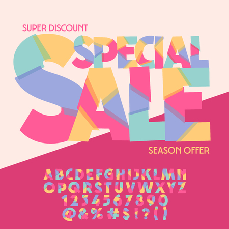Bright logo with text Special sale. Vector set of colorful letters, numbers and symbols