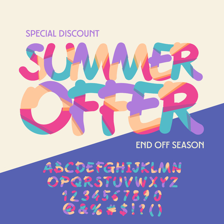 Bright banner with text Summer offer. Vector set of colorful letters, numbers and symbols Çizim