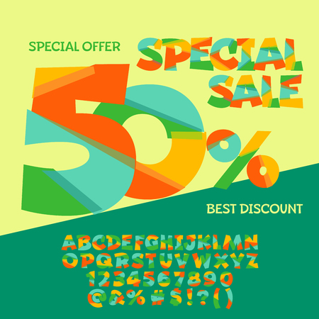 Bright banner with text 50% Special sale. Vector set of colorful letters, numbers and symbols
