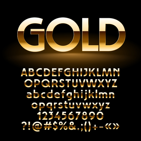 Vector Set Of Shiny Golden Letters Symbols And Numbers Contains