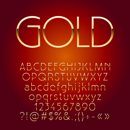 Vector shiny golden letters, symbols and numbers. Contains graphic style