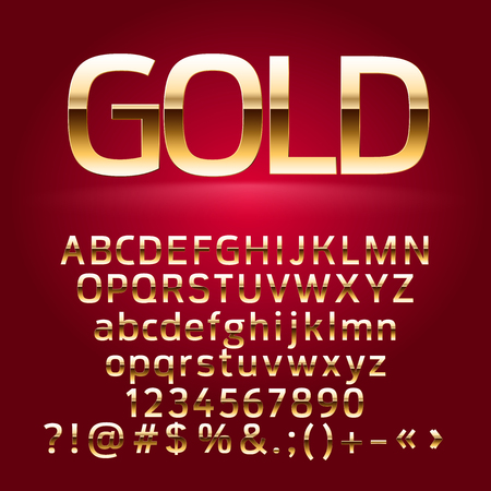 Golden vector alphabet letters, symbols, numbers. Contains graphic style