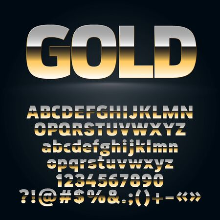 Vector Set of golden alphabet letters, symbols, numbers. Contains graphic style