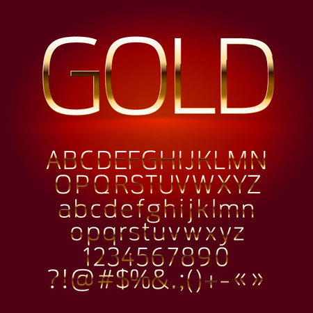 Vector set of gold alphabet letters, symbols, numbers. Contains graphic style Çizim
