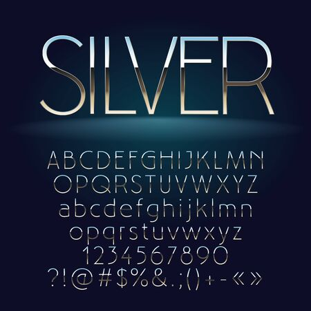 A Vector set of slim silver letters, numbers and symbols. Contains graphic style