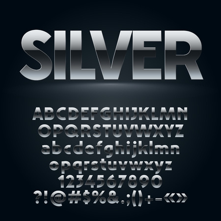 A Vector set of dark silver letters, numbers and symbols