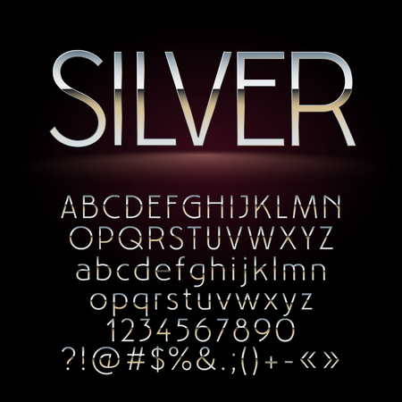 luxe: Vector set of chic silver letters, numbers and symbols. Contains graphic style