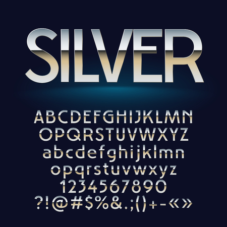A Vector set of silver letters, numbers and symbols Çizim