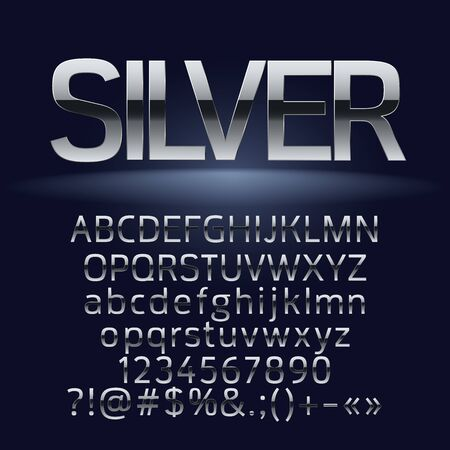 Set of elite silver letters, numbers and symbols
