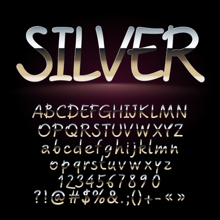 A Vector set of artistic silver letters, numbers and symbols