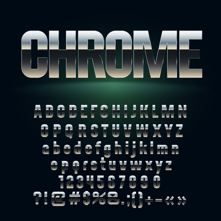A Vector set of dark chrome letters, numbers and symbols. Contains graphic style