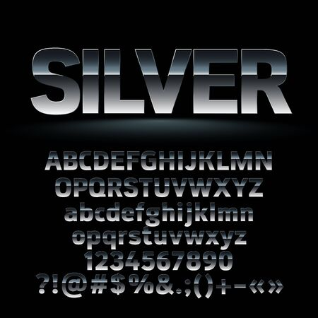A Vector set of dark silver letters, numbers and symbols. Contains graphic style
