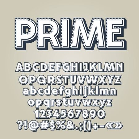 A Vector set of old style letters, numbers and symbols. Contains graphic style.