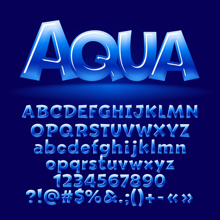 Vector aqua glossy letters, number, symbols. Contains graphic style