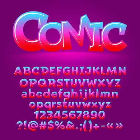 Vector comic candy glossy letters, number, symbols. Contains graphic style Illustration