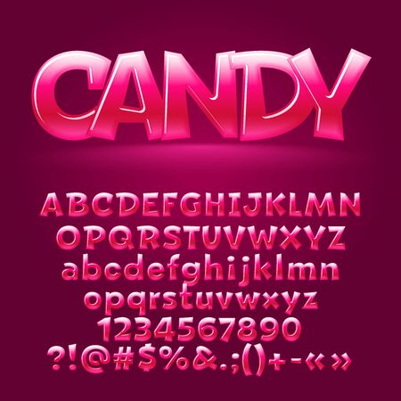 Vector sweet candy glossy letters, number, symbols. Contains graphic style Çizim