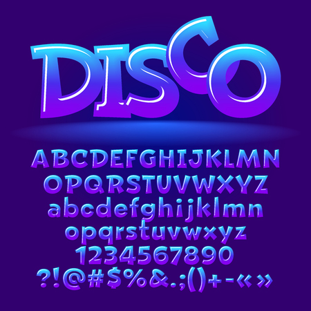 Vector candy disco set of letters, numbers and symbols. Contains graphic style