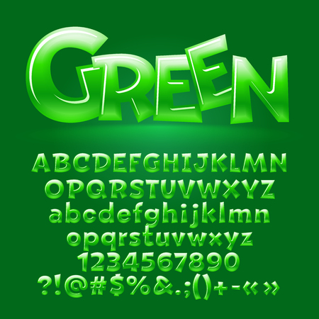 Vector candy green letters,symbols, numbers. Contains graphic style