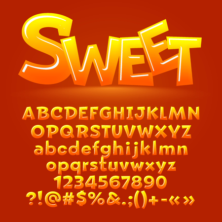 Vector candy sweet letters, symbols and numbers. Contains graphic style